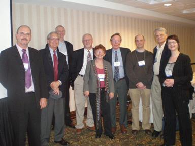 from left to right: Dominique Meekers, Frank Bean, Doug Ewbank, Ron Lesthaeghe, Jane Menken, John Cleland, Johan Surkyn, Arland Thornton, and Melinda Mills